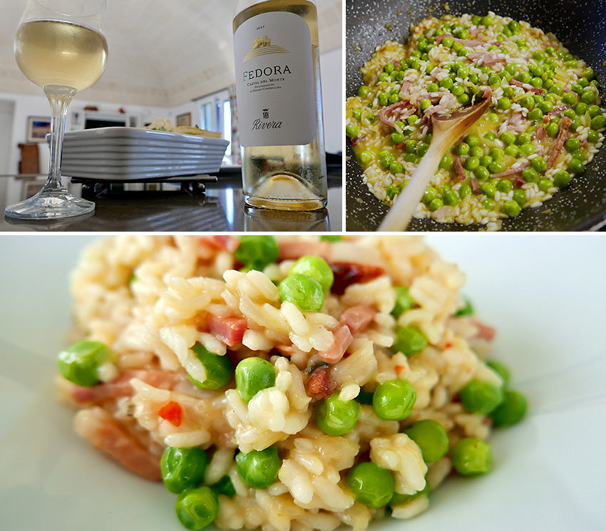 rice and peas with speck and Fedora wine