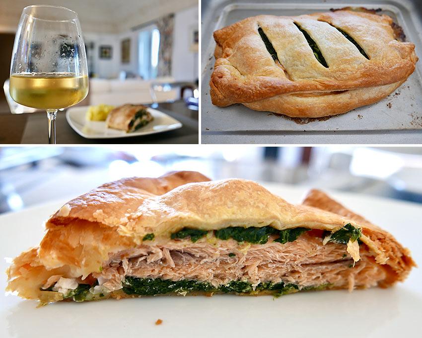 salmon en croute and Talò Fiano wine