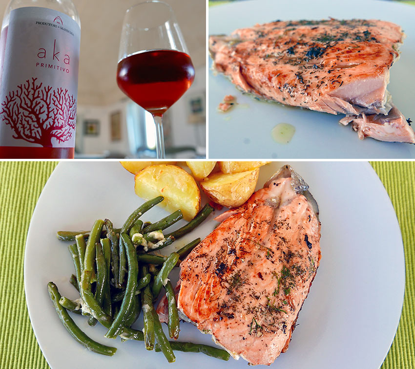 salmon fillet and Aka wine