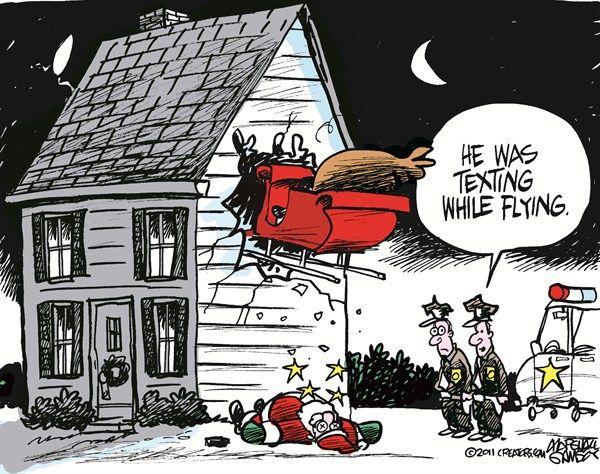 Parting Shots: Texting and Flying Santa