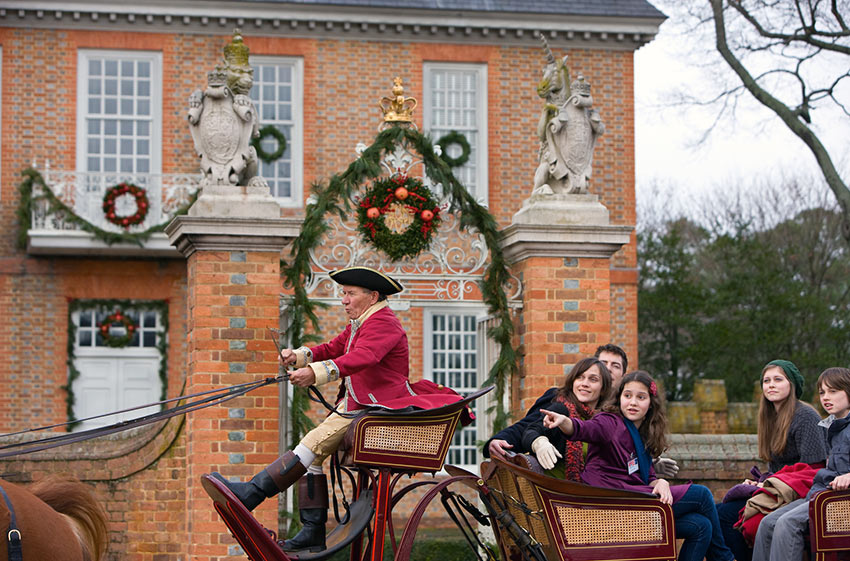 horse-drawn carriage in Colonial Williamsburg