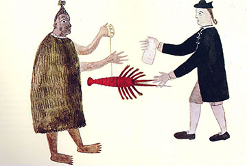 English naval officer bartering with a Maori in the 18th century