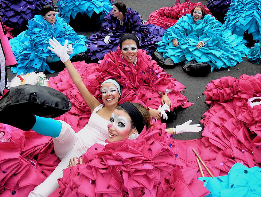 dancers preparing for a carnival parade, on Tenerife, Canary Islands, Spain