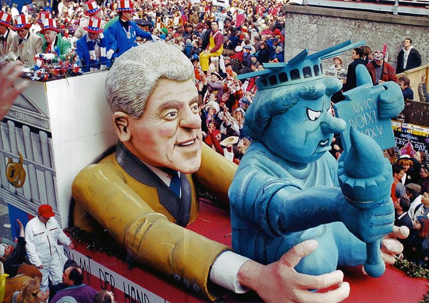 Bill Clinton carnival float Cologne, Germany