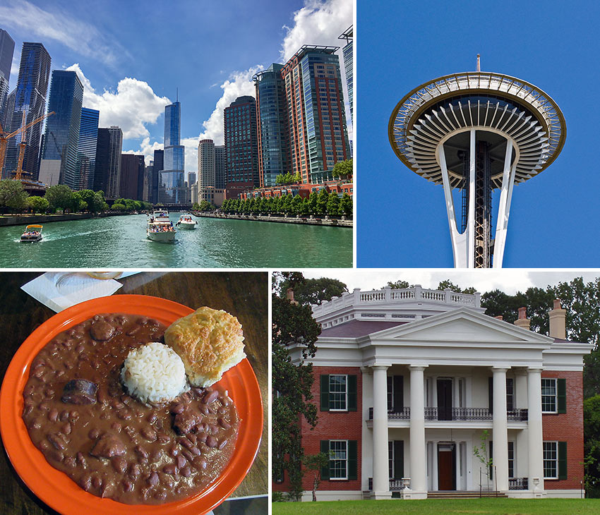 Chicago, Seattle, Mississippi and New Orleans
