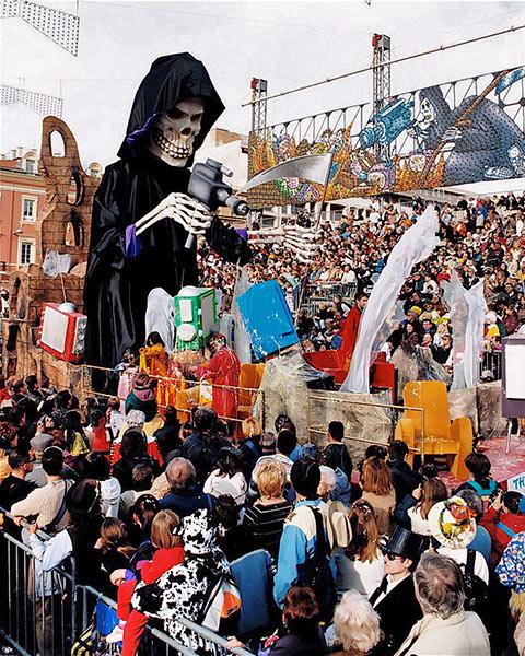 TV media as the Grim Reaper in a Nice carnival