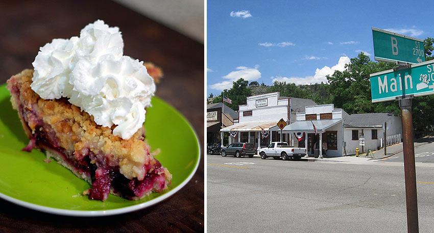 Julian apple pie and a street in Julian, CA