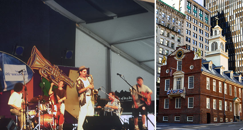 jazz band in New Orleans and the Old State House in Boston