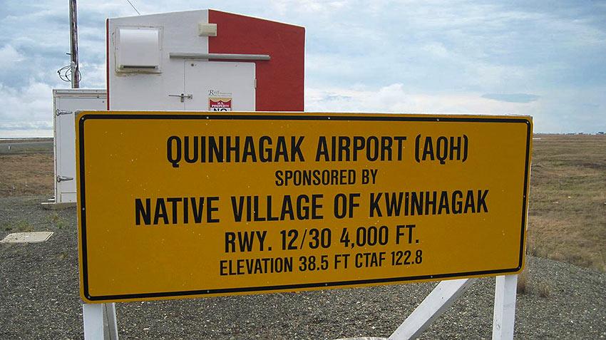 Quinhagak Alaska Airport sign