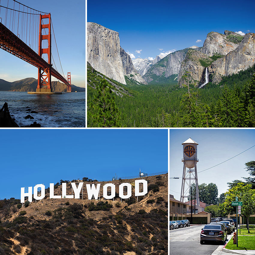 Golden Gate Bridge, Yosemite, Hollywood and Warner Bros.