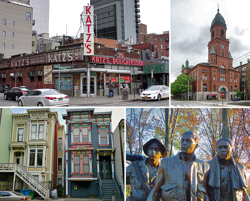 New York City, San Francisco and Washington DC