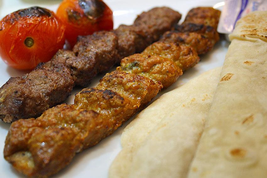 chicken kofta kebab and a beef kofta kebab