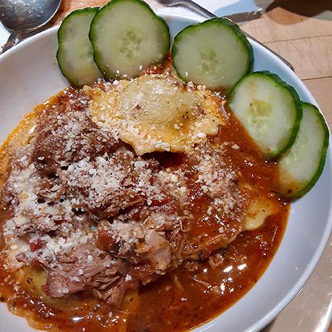Bolognese sauce and Ravioli
