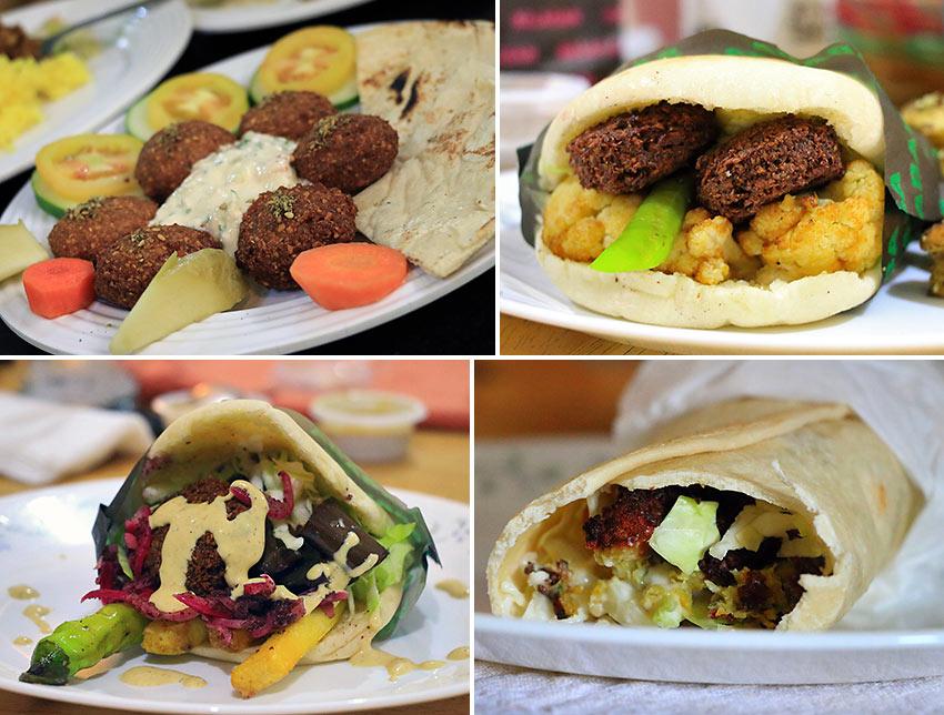 falafel balls and sandwiches