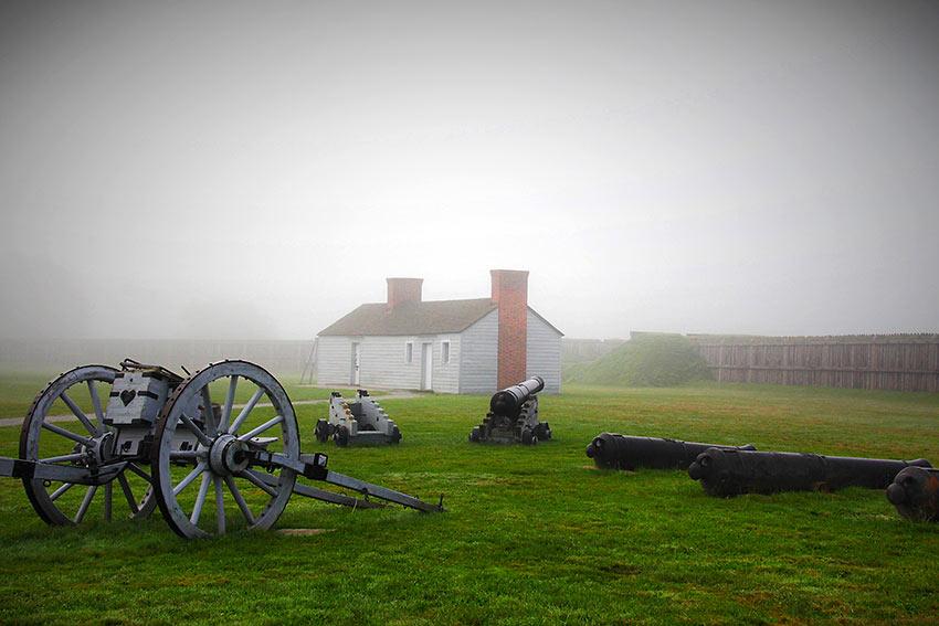 fog at historic Fort George, NOTL