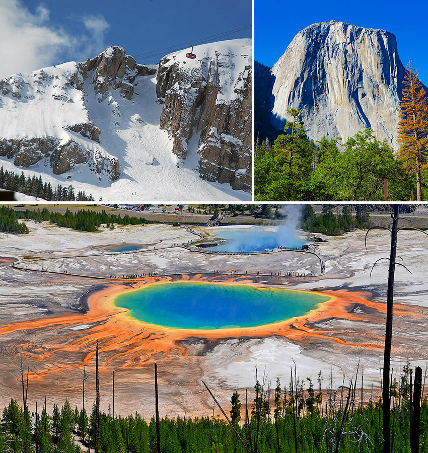 scenes from Grand Teton, Yellowstone and Yosemite National Parks