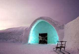 entrance of the Icehotel in Jukkasjärvi, Sweden