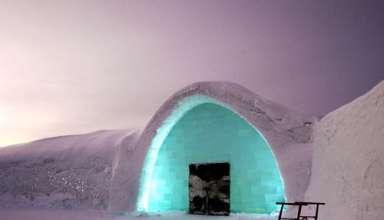 entrance of the Icehotel in Jukkasjärvi, Sweden