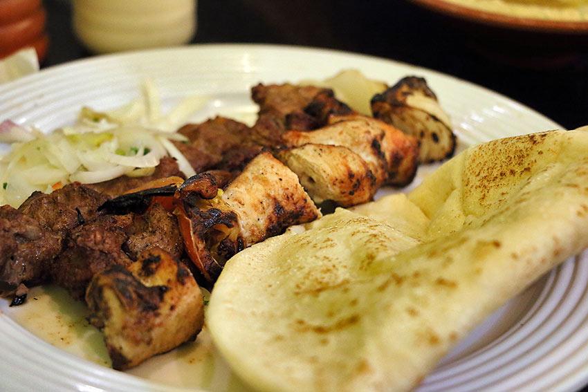 chicken shish kebab with beef kofta kebab and pita bread