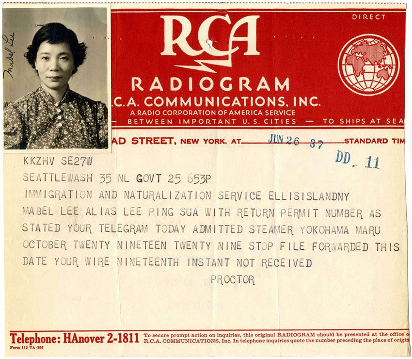 Mabel Ping-Hua Lee radio telegram
