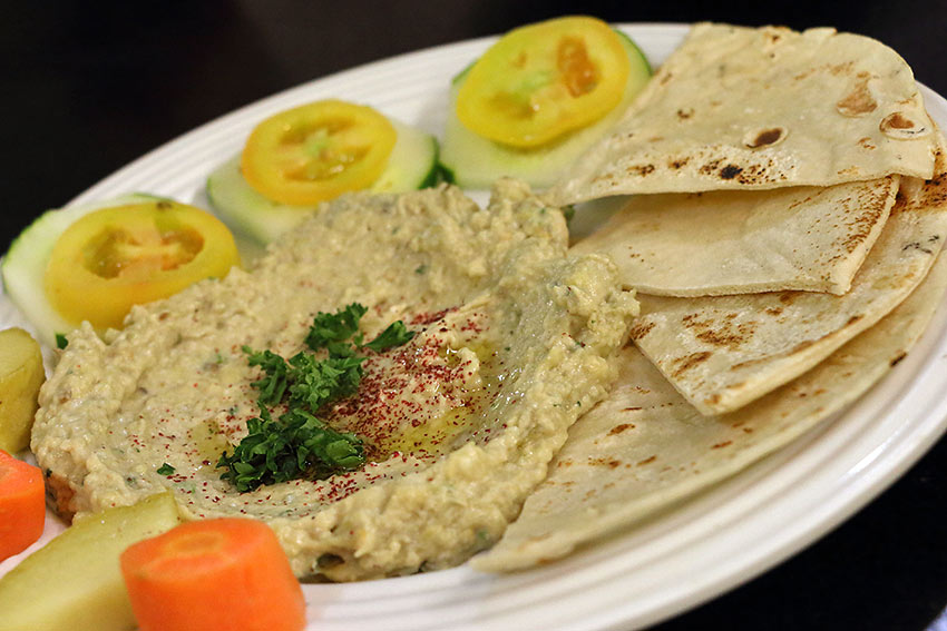 moutabal or baba ghanoush with pita bread and veggies