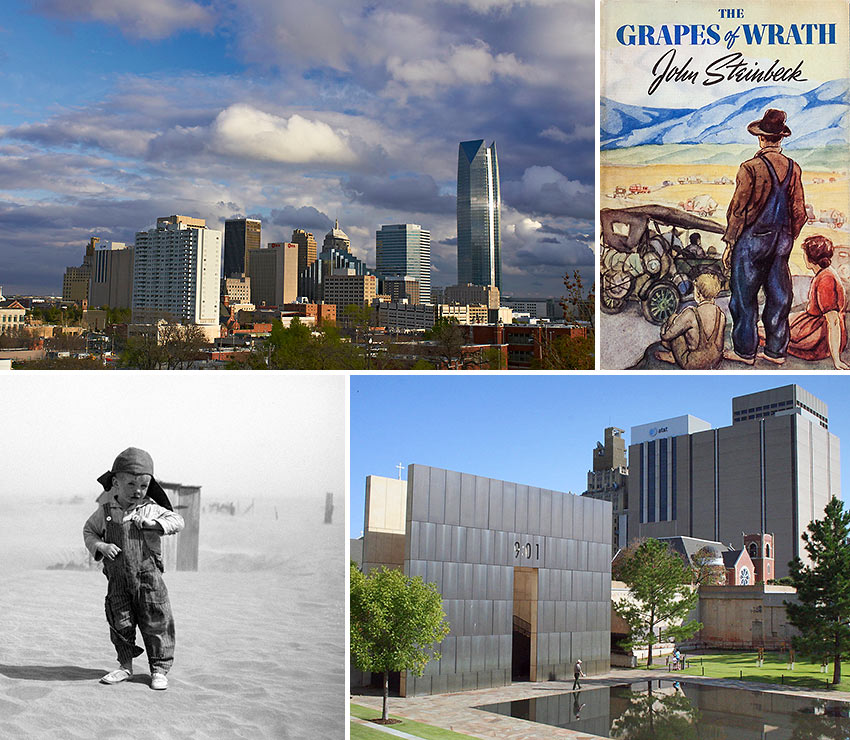 scenes from Oklahoma, The Grapes of Wrath and the Oklahoma Dust Bowl