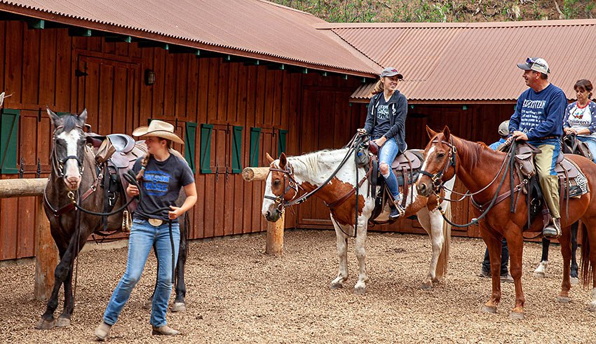 saddling up at the Old Stage Riding Stable