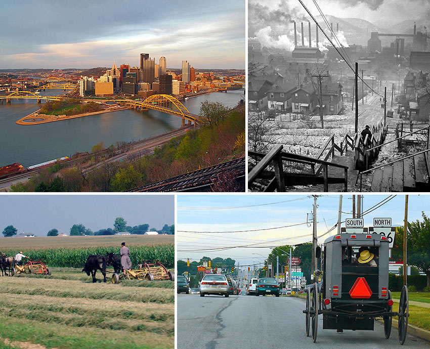 scenes from Pittsburgh and the Amish community