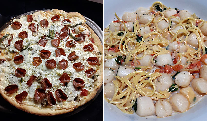 pizza and scallops