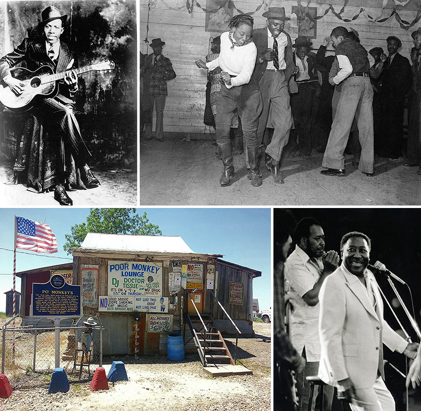 Robert Johnson, Muddy Waters and scenes from the Mississippi delta
