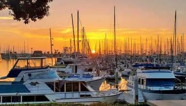 Ventura Harbor boats and sunset