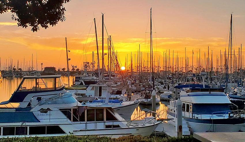 Ventura Harbor boats and sunset