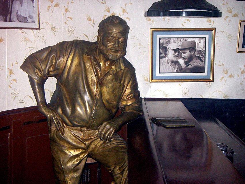 statue of Ernest Hemingway in Floridita bar, Havana, Cuba