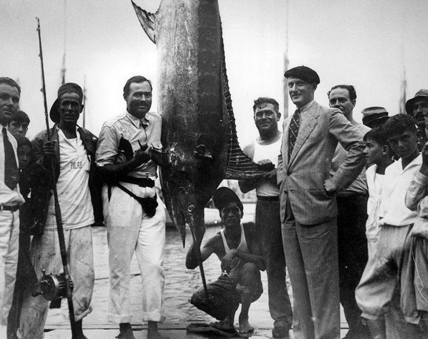Hemingway in Havana Harbor after catching a marlin, 1934