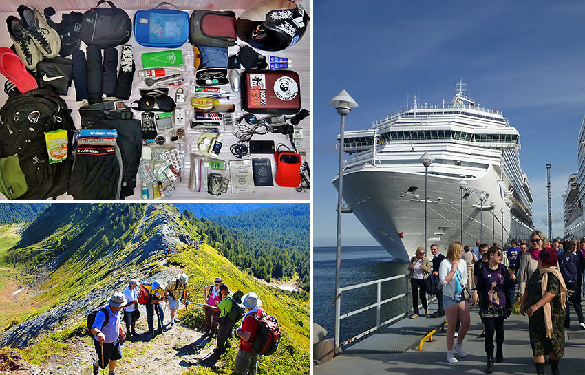 travel nightmares: cruise ship, packing and hiking