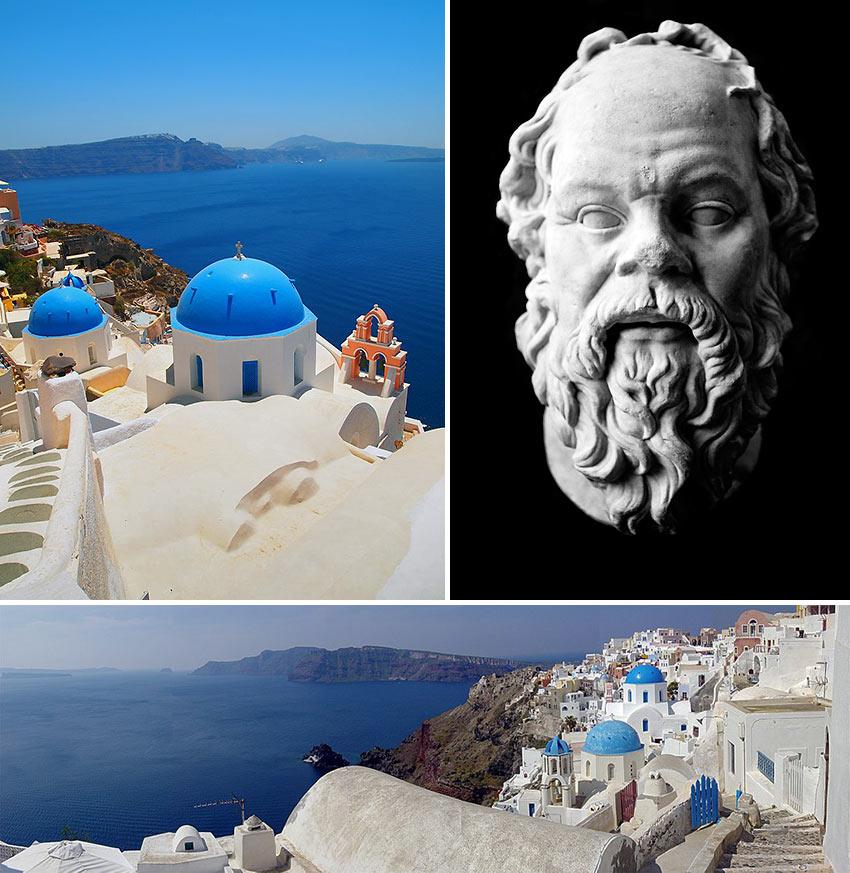 scenes at Santorini and sculpture of Socrates