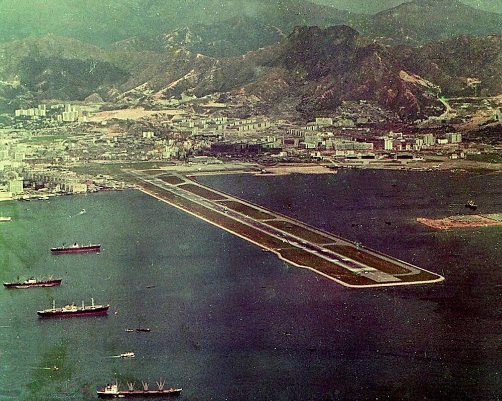 Hong Kong Kai Tak Airport 1971. Courtesy Barbara Ann Spengler via Wikimedia Commons